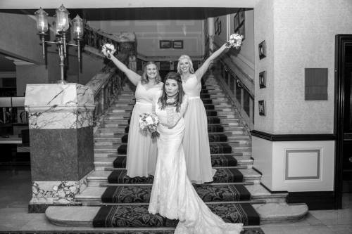 meg wedding on stairs